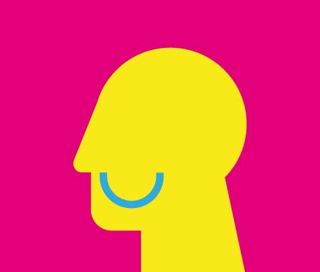 Gelber Kopf mit Lächeln, Blickrichtung nach links