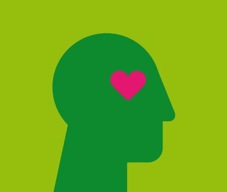 Grüner Kopf mit Herz, Blickrichtung nach rechts