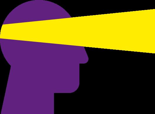 Lila Kopf mit gelbem Scheinwerfer