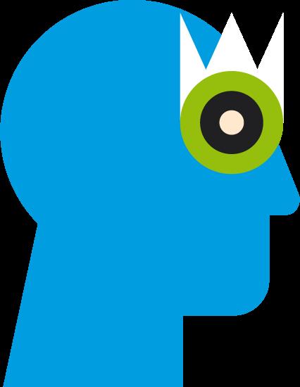 Blauer Kopf mit grünem Auge
